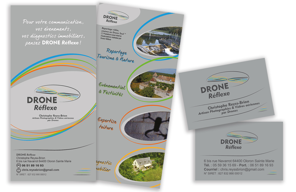 Logo Carte De Visite Flyer Drone Reflexe